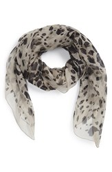 Women's Burberry Animal Print Silk Georgette Scarf Grey Stone Print