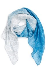 Women's Nordstrom 'Lace Haze' Silk Chiffon Square Scarf Blue Blue Combo