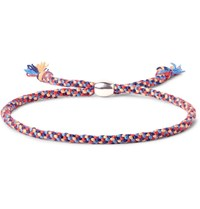Paul Smith Woven Silk Silver Tone Bracelet Red