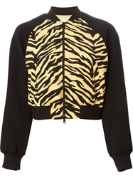 Moschino Cheap And Chic Tiger Print Cropped Bomber Jacket Black