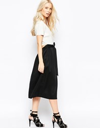 Shae Olivia Midi Skater Dress With Knit Top And Open Drop Back Black
