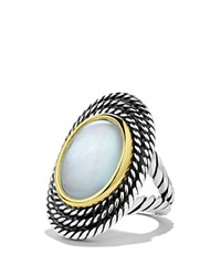 David Yurman Cable Coil Ring With Moon Quartz Silver Yellow Gold