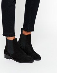 Asos Attribute Suede Chelsea Ankle Boots Black Suede