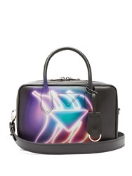 Prada Banana Print Leather Bowling Bag Black Multi