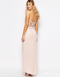 Elise Ryan Cami Strap Maxi Dress With Dipped Lace Back Pink
