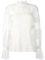 Valentino Lace Detail Blouse Top Nude Neutrals