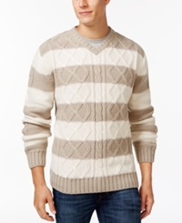 Weatherproof Striped Cable Knit V Neck Sweater