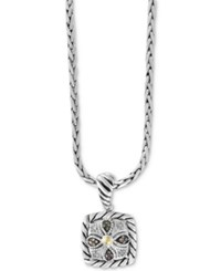 Effy Diamond Square 18 Pendant Necklace 1 8 Ct. T.W. In Sterling Silver And 18K Gold Two Tone