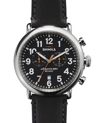 47Mm Runwell Chronograph Men's Watch Black Black Shinola Silver
