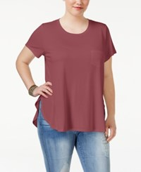 Celebrity Pink Trendy Plus Size High Low Tunic Wine