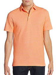 Saks Fifth Avenue Dot Print Polo Orange
