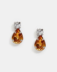 Asos Drop Jewel Stud Teardrop Earrings Topaz Brown