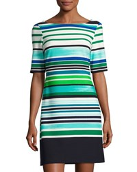 Eliza J Half Sleeve Striped Shift Dress Green Blue