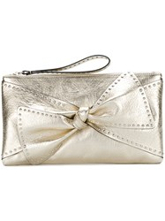 Red Valentino Bow Detail Clutch Bag Women Calf Leather One Size Metallic