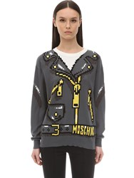 Moschino Logo Cotton Knit Sweater Black