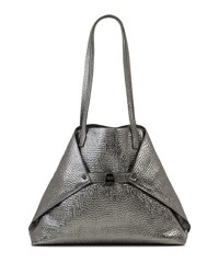 Akris Ai Medium Hammered Shoulder Bag Pewter