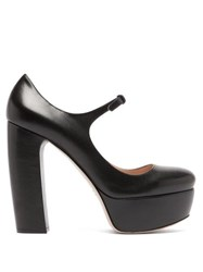 Miu Miu Platform Leather Mary Jane Pumps Black