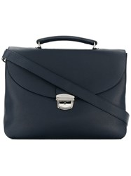 Orciani Foldover Top Briefcase Blue