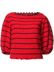 Sonia Rykiel Striped Loose Fit Jumper Red
