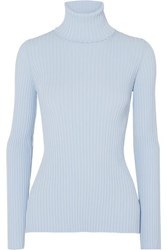 Proenza Schouler Button Detailed Ribbed Knit Turtleneck Sweater Blue
