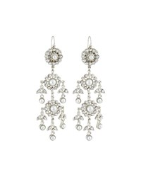 Jose And Maria Barrera Victorian Pearl And Crystal Chandelier Earrings