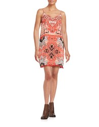 Design Lab Lord And Taylor Tribal Shift Dress Red