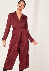 Missguided Burgundy Satin And Chiffon Mixed Belted Duster Coat