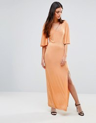 First And I Flutter Sleeve Maxi Dress Toast Multi