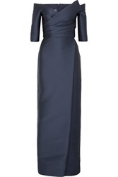 Monique Lhuillier Off The Shoulder Satin Gown Navy Gbp