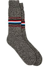 Barneys New York Men's Marled Stockinette Stitched Mid Calf Socks Black