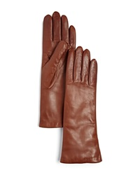Bloomingdale's Cashmere Lined Long Leather Gloves Luggage