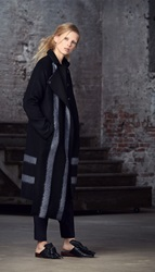 Tibi Needle Felted Wool Striped Coat