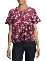 Cinq A Sept Hydra Floral Print Peplum Silk Top Berry Multi