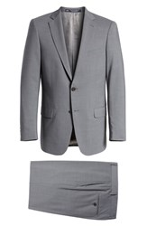 Hart Schaffner Marx Big And Tall Classic Fit Solid Stretch Wool Suit Grey