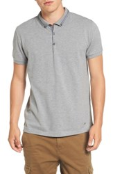 Boss Orange Men's Pejo Button Down Polo Light Pastel Grey