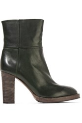 Brunello Cucinelli Leather Ankle Boots Dark Green