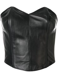 Plein Sud Jeans Bustier Top Leather Polyester Black