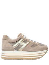 Hogan 70Mm Maxi 222 Suede And Glitter Sneakers Beige