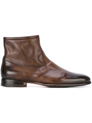 Santoni Ankle Boots Men Calf Leather Leather Rubber 7.5 Brown