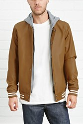 Forever 21 Hooded Faux Leather Jacket
