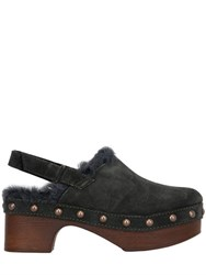 Mrandmrs Italy 45Mm Kalgan Shearling Suede Clogs