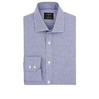 Fairfax Micro Houndstooth Cotton Dress Shirt Navy