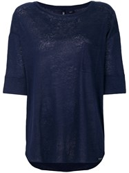 Woolrich Loose Fit T Shirt Blue