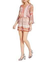 Bcbgeneration Paisley Floral Lace Trimmed Romper Red