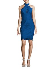 Keepsake Halterneck Scalloped Dress Cobalt