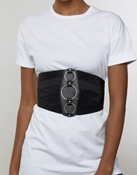 Asos Wide Elasticated Waist Belt With Ring Detail Black