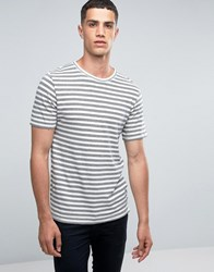 Only And Sons Crew Neck T Shirt With Jaquard Stripe Cloud Dancer Grey