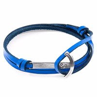 Anchor And Crew Royal Blue Clipper Silver Leather Bracelet