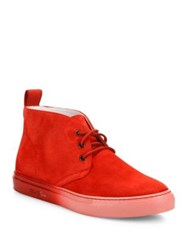 Del Toro Faded Sole Suede Hi Top Sneakers Red