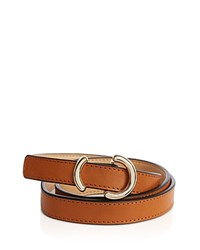 Karen Millen Skinny O Ring Leather Belt Tan Gold